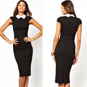 ASOS Black Pencil Dress with Contrast Collar